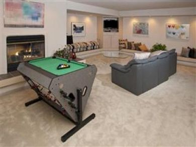Game room in lower level family room