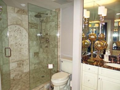 Elegant bathrooms with new glassed shower