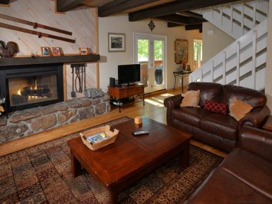 Fireplace & flat screen TV in living area