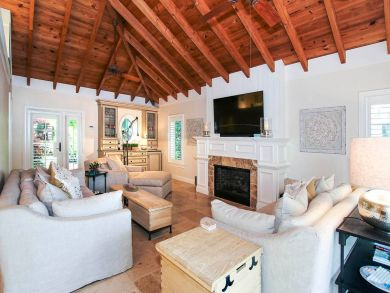 Living Area with Flat Screen TV & Fireplace
