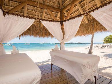Beach with massage beds