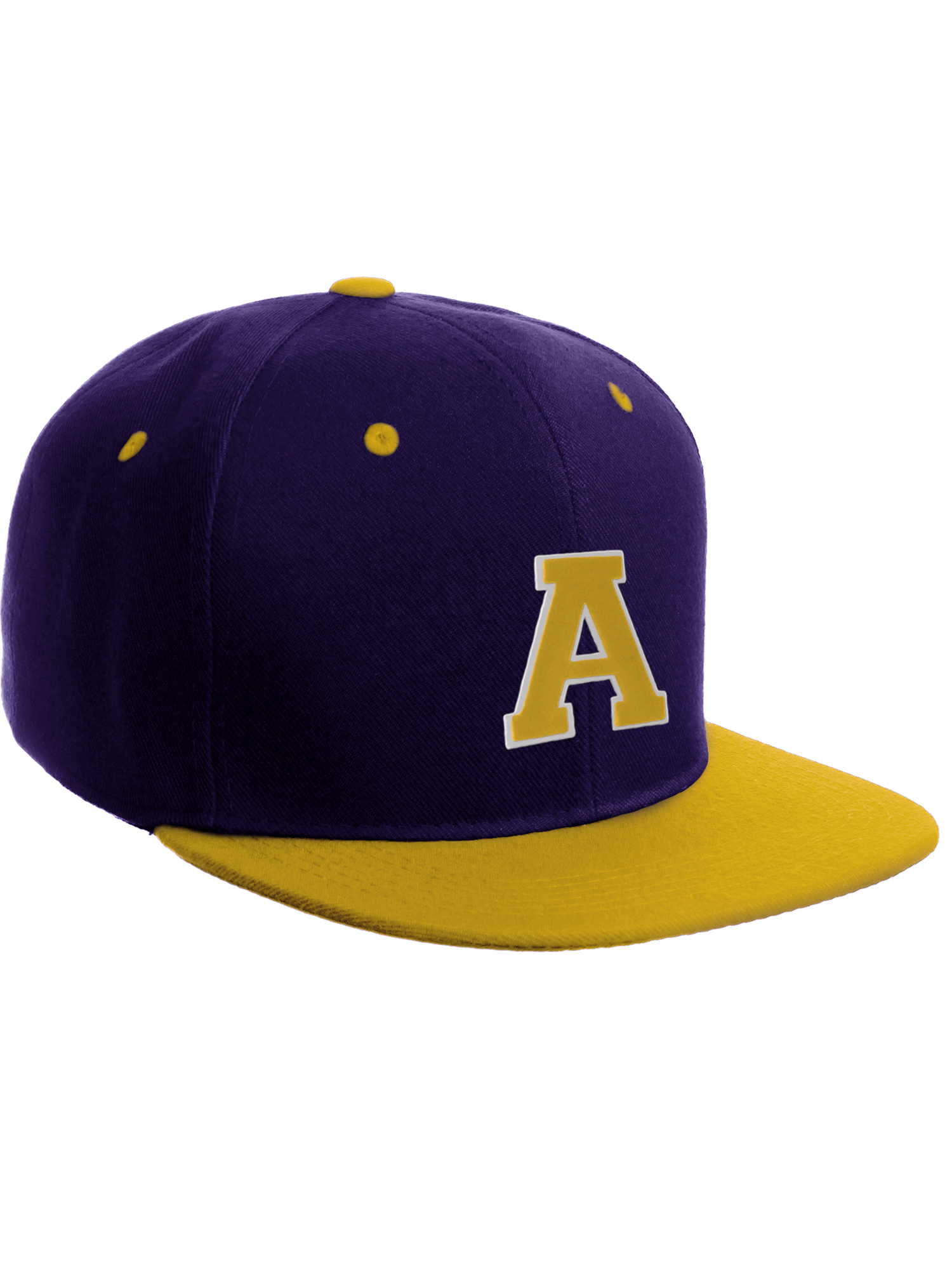 a066814ffa43c Classic Snapback Hat w Custom A-Z Initial Raised Letters - Purple Gold Hat  White Gold Initial A