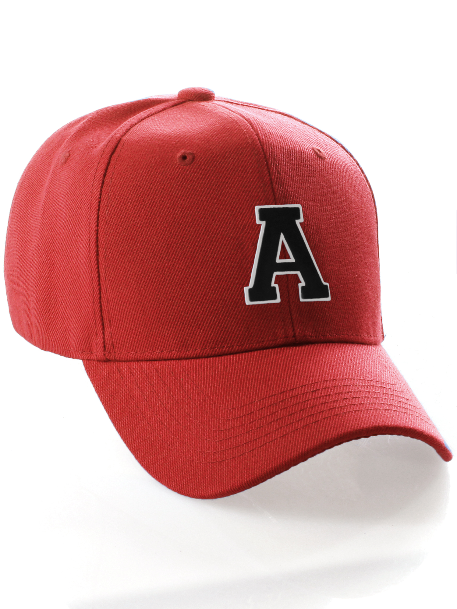 Classic 3D Raised Initial Letters A to Z Structured Baseball Hat Cap  Adjustable - Red Hat White Black Letter A 70acea672f23