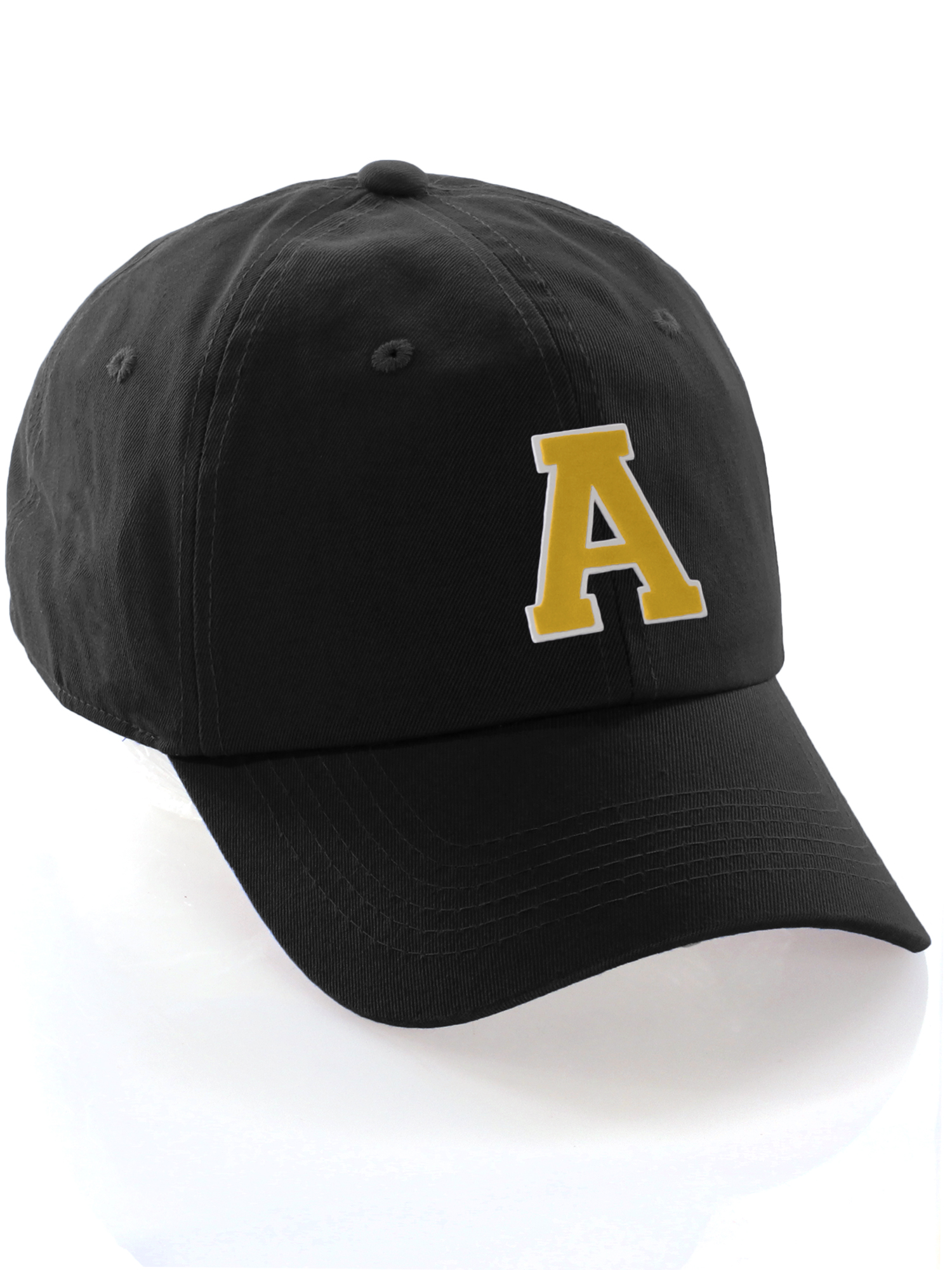 65ef3d9b72cc6 Custom Dad Hat A-Z Initial Letters Classic Baseball Cap - Black Hat with  White Gold Letter A