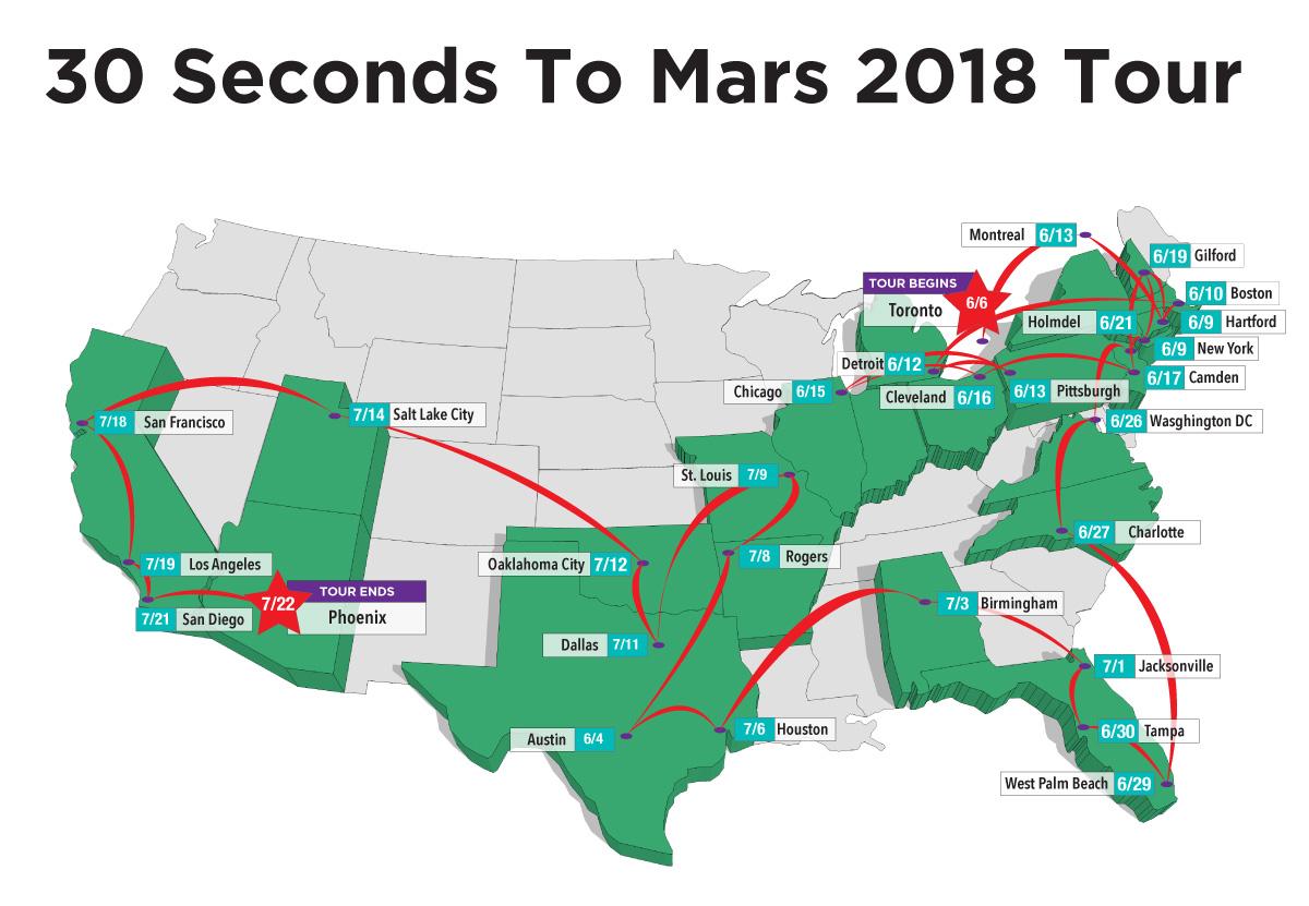 """30 Seconds to Mars Announces 2018 """"Monolith Tour"""""""
