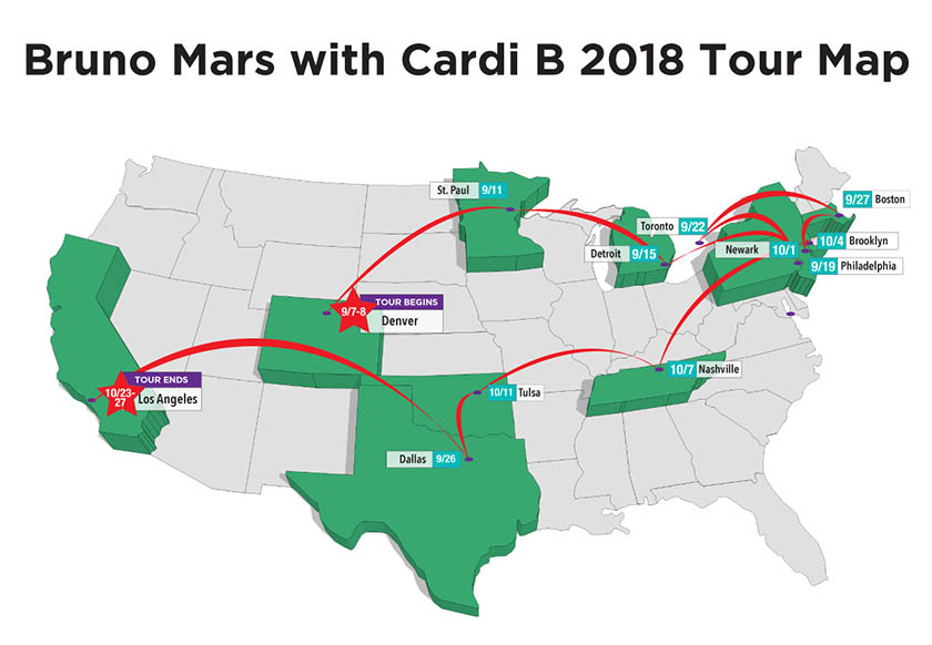 bruno mars tour map
