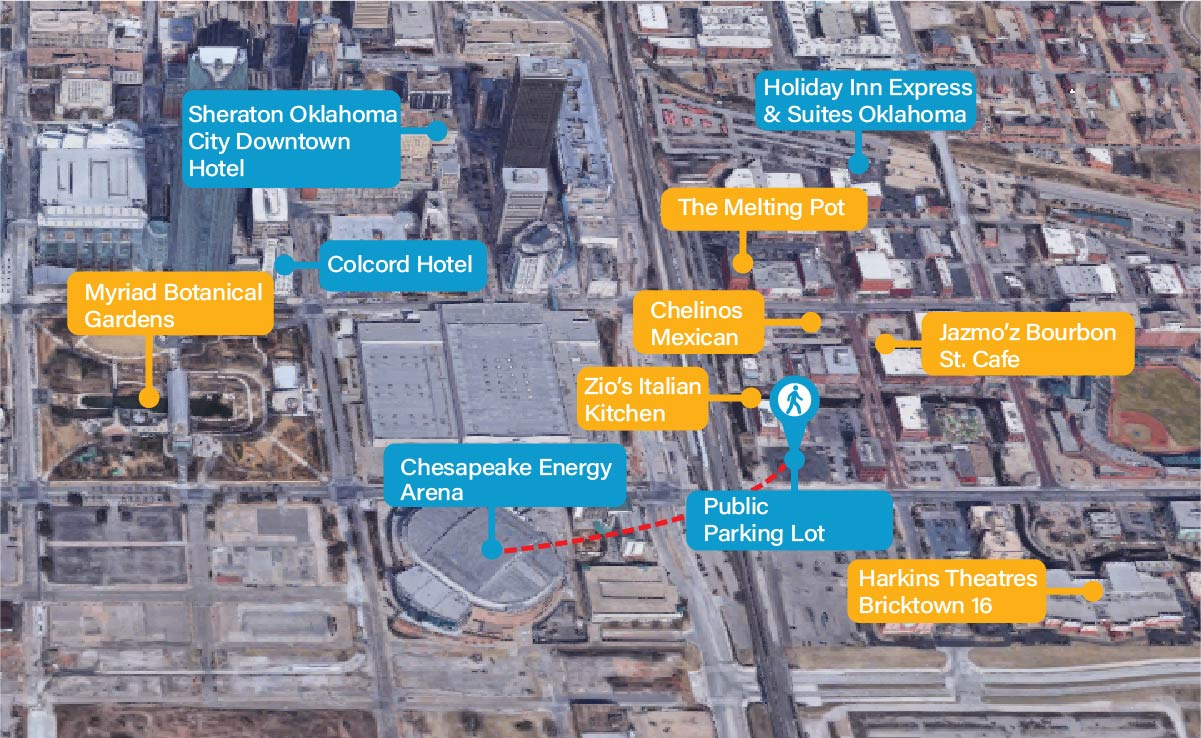 chesapeake energy arena points of interest map