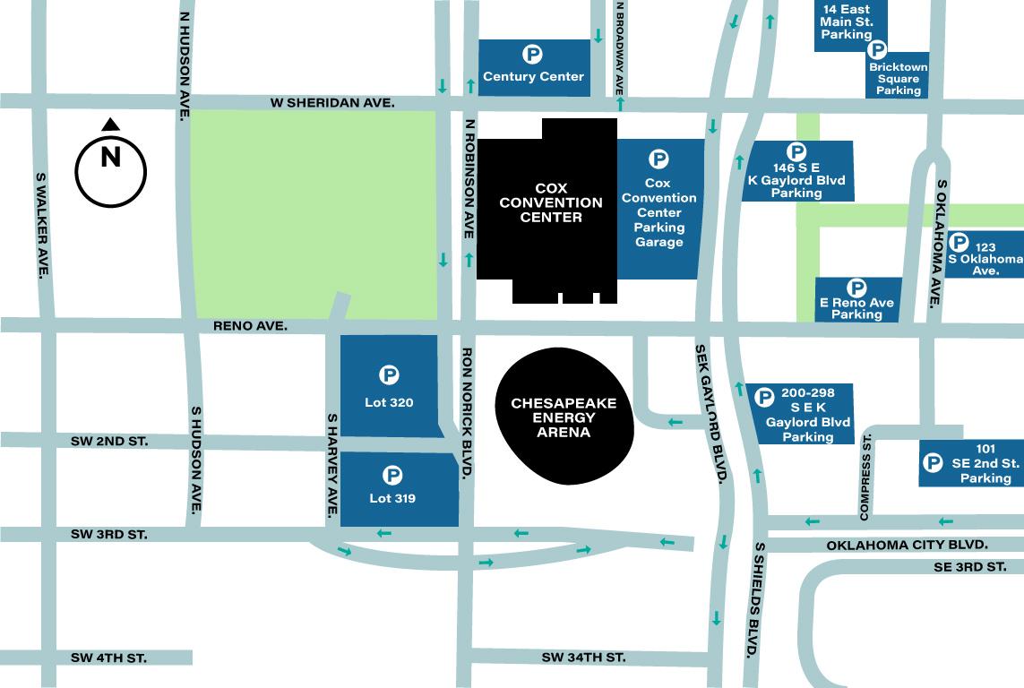 chesapeake energy arena parking map