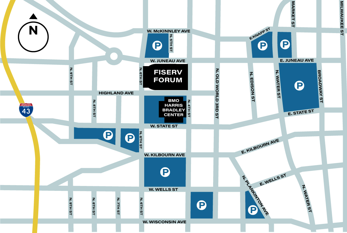 fiserv forum parking map