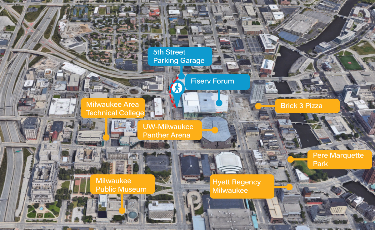 fiserv forum locations map