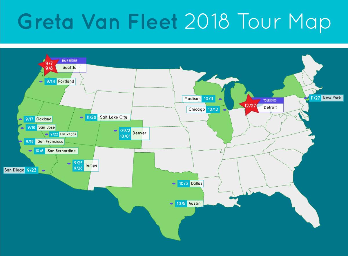 greta van fleet tour map