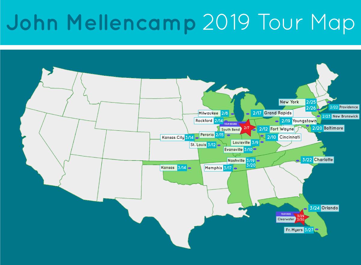 john mellencamp tour map