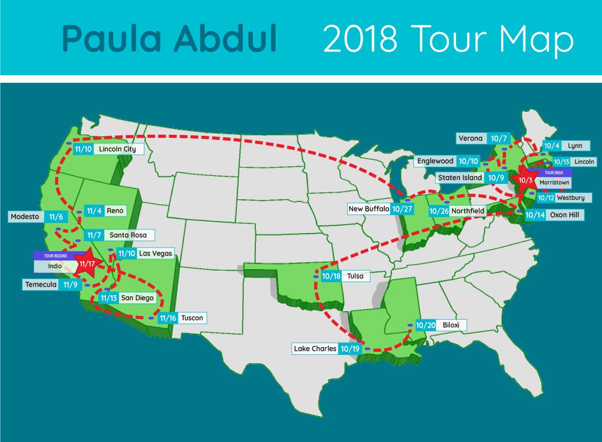 paula abdul tour map