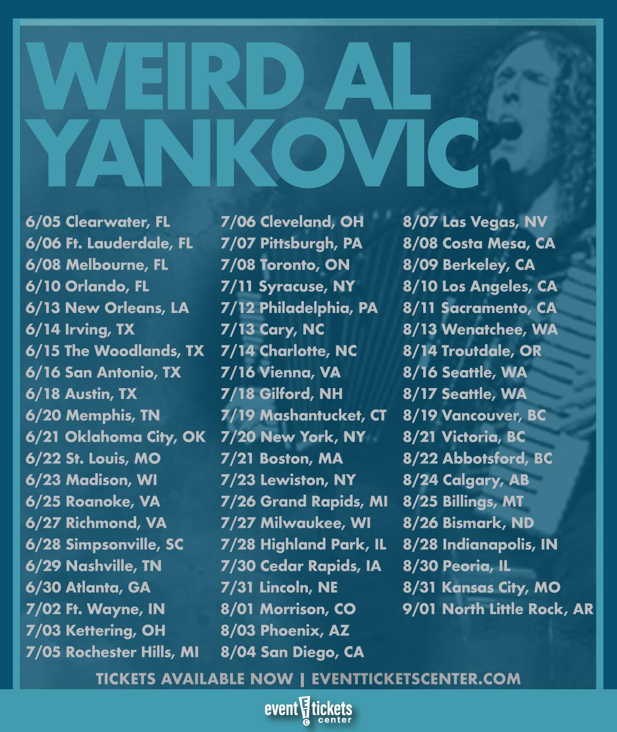 weird al yankovic tour dates