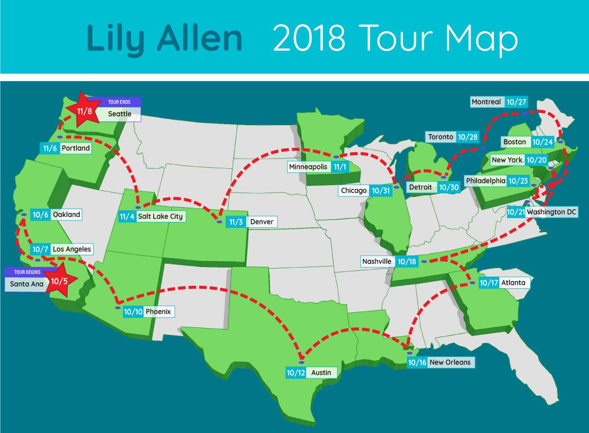 lily allen tour map
