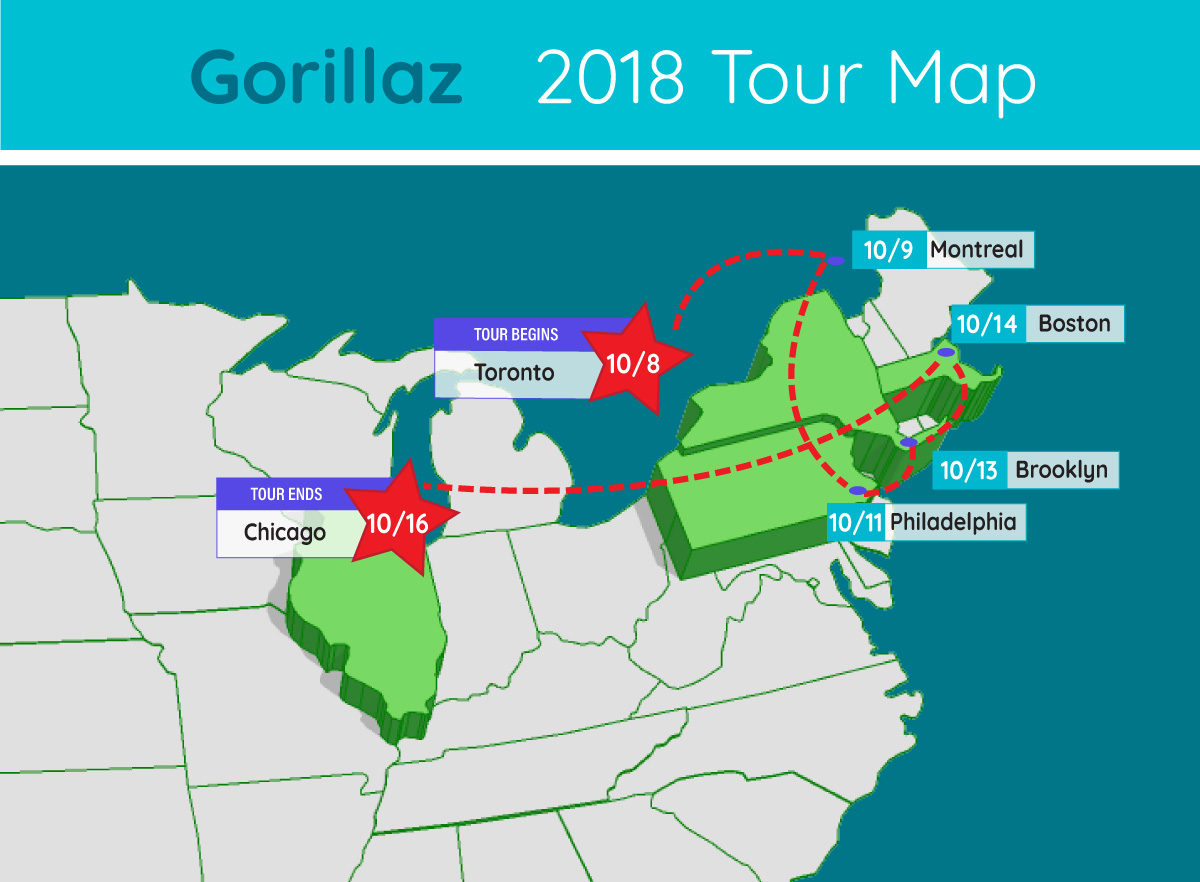 gorillaz tour map