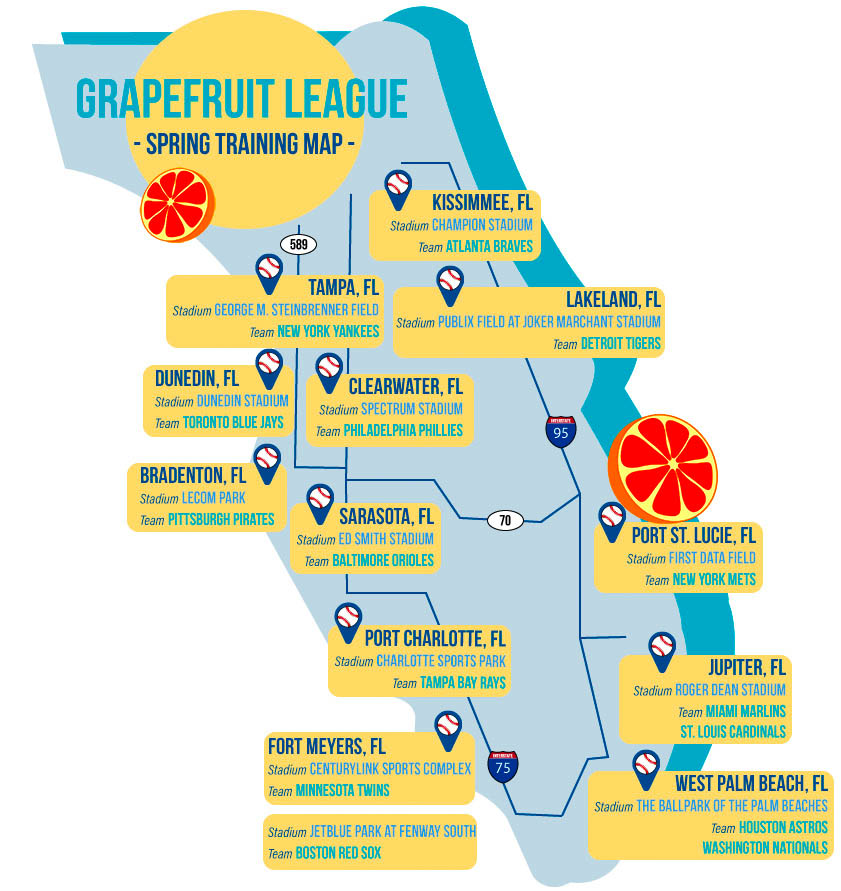 Grapefruit League Map 2018 MLB Spring Training: The Grapefruit League Grapefruit League Map