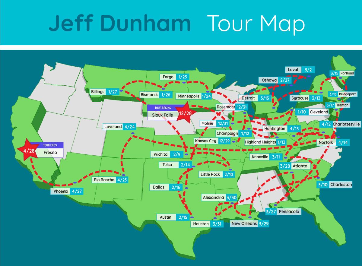 jeff dunham tour map