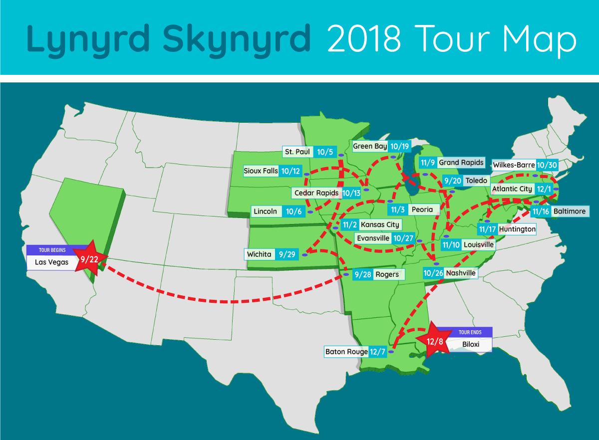lynyrd skynyrd extended tour map