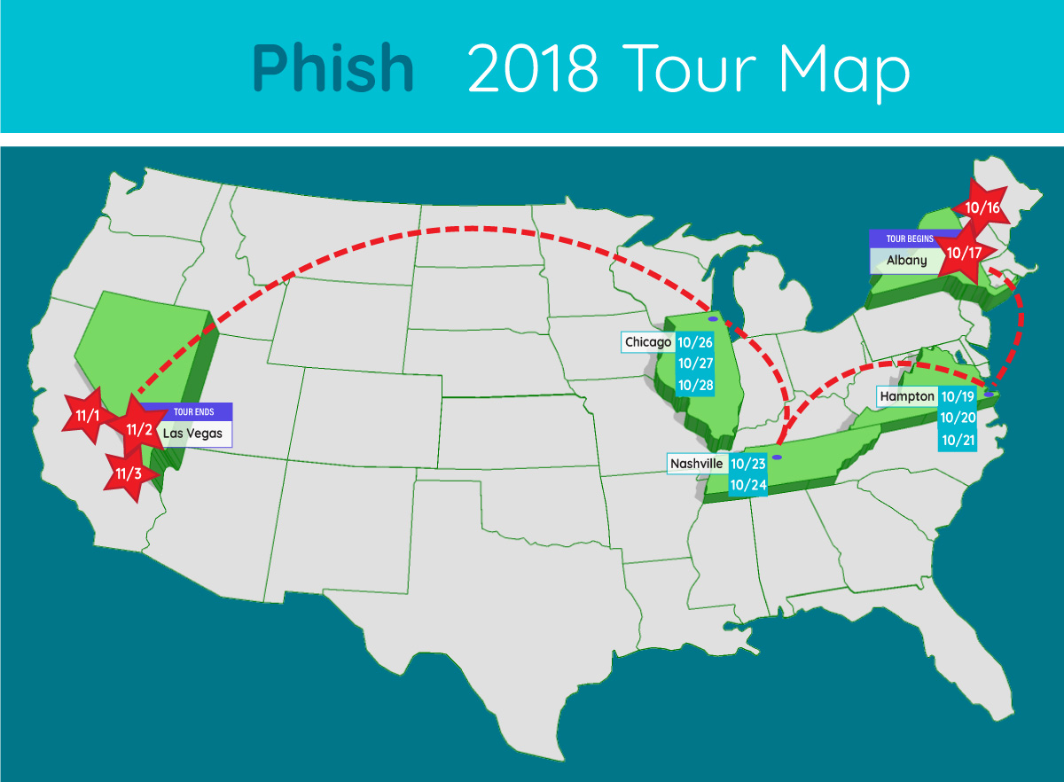 phish extended tour map