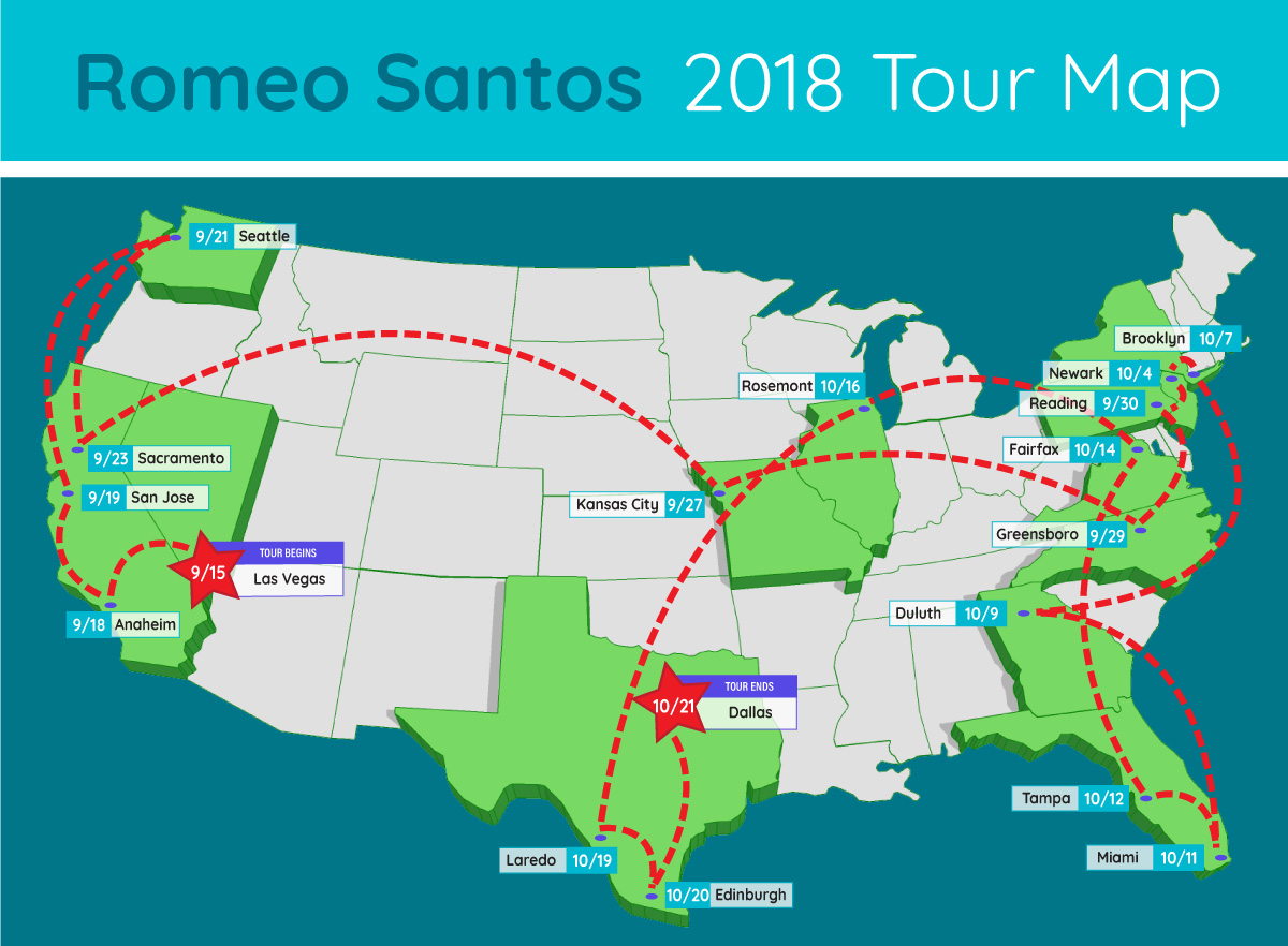 romeo santos extended tour map