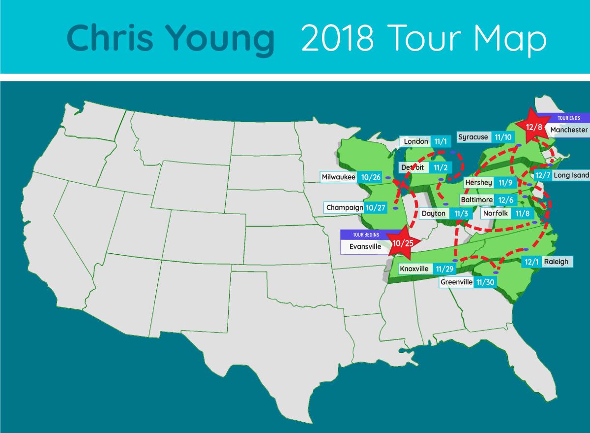 chris young tour map