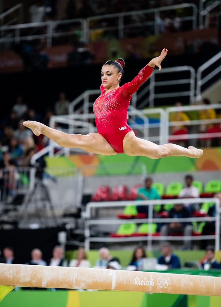 Laurie Hernandez performing on the balance beam at the 2016 Olympics in Rio.