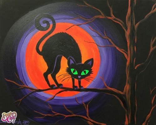 Black Cat with Orange Moon