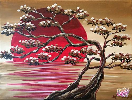 Bonsai Red Sun Reflection