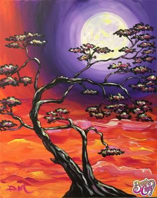 Bonsai Sunset with Moon