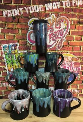 Mugs in Matte Black Glaze