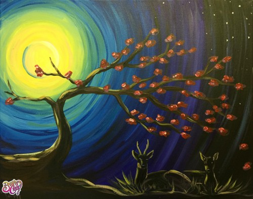 Deer Couple with Moonlit Tree