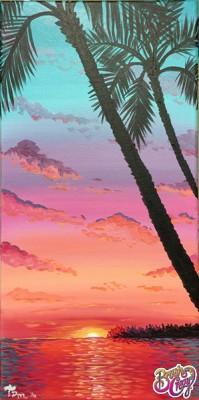 Ocean Sunset Palm Trees
