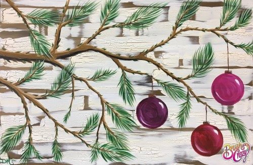 Pine Bow with Three Ornaments