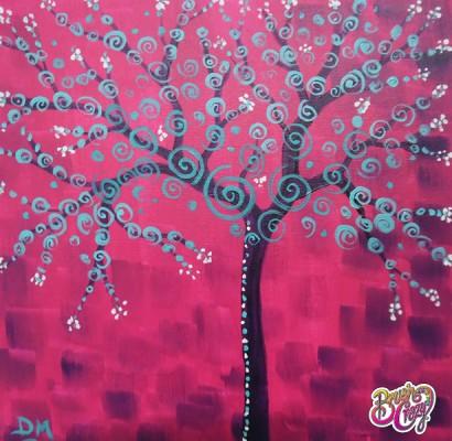 Tree Aqua Swirls on Magenta