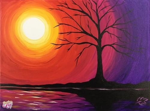 Tree Sunset Reflections