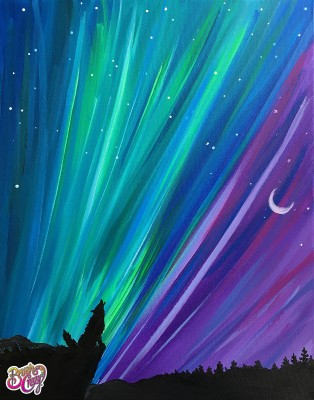 Wolf Howling Northern Lights