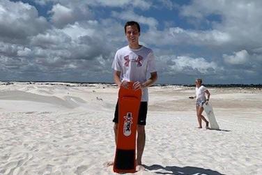 Sam Shook on the beach
