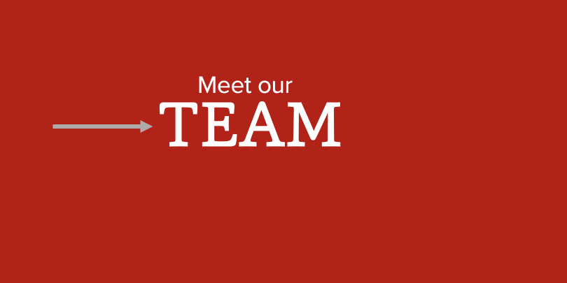 Red background with white text that reads 'Meet our TEAM'
