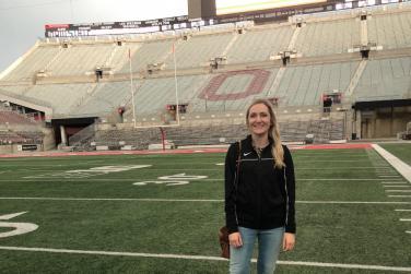 Standing on the field at Ohio Stadium