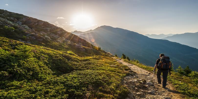 Man hiking through the mountains