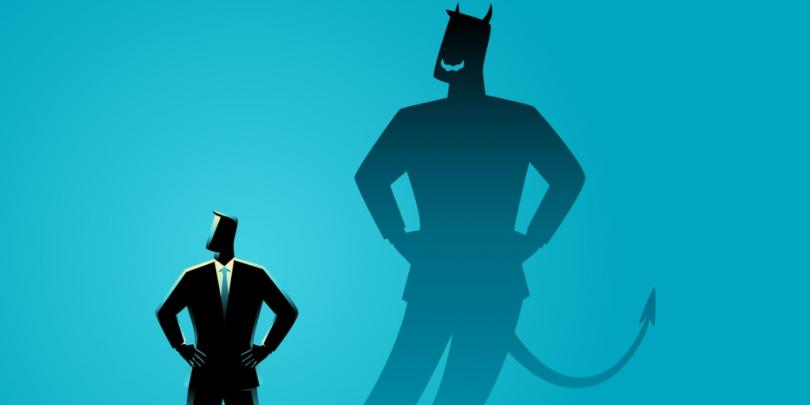"""Illustration of businessman with a """"devil"""" shadow"""