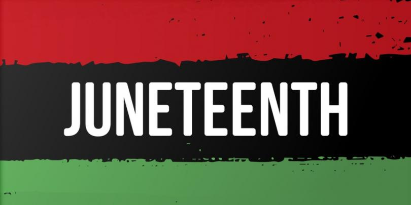 """Juneteenth flag with the word """"JUNETEENTH"""" on it"""