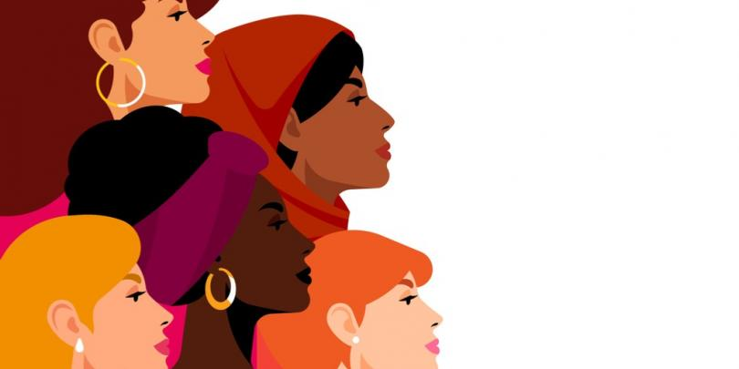 Illustration of women together that are of different backgrounds