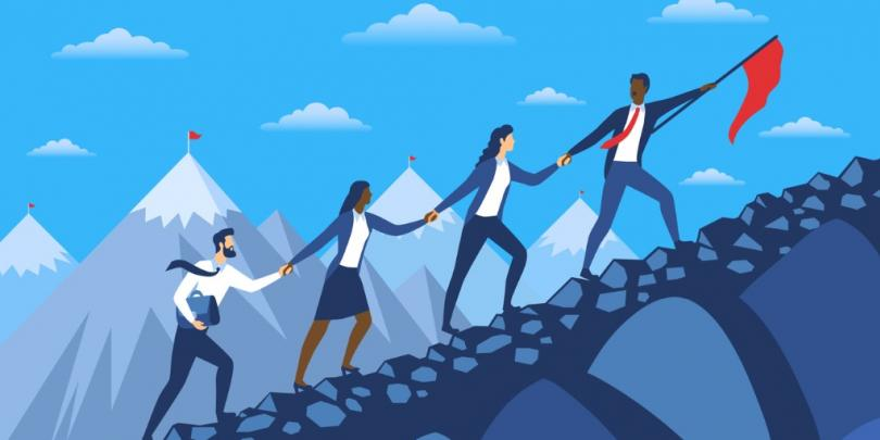 Illustration of a leader guiding people together up a mountain