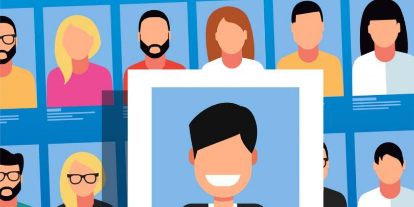 illustration of one person's picture being chosen among others