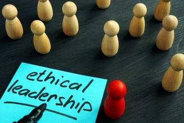 """The words """"ethical leadership"""" next to small wooden figures"""