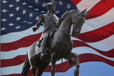Monument of George Washington with American flag