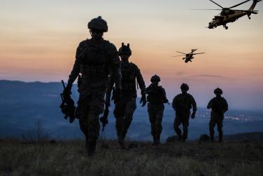 Military members walking in line