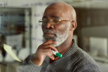 man conducting strategic planning process